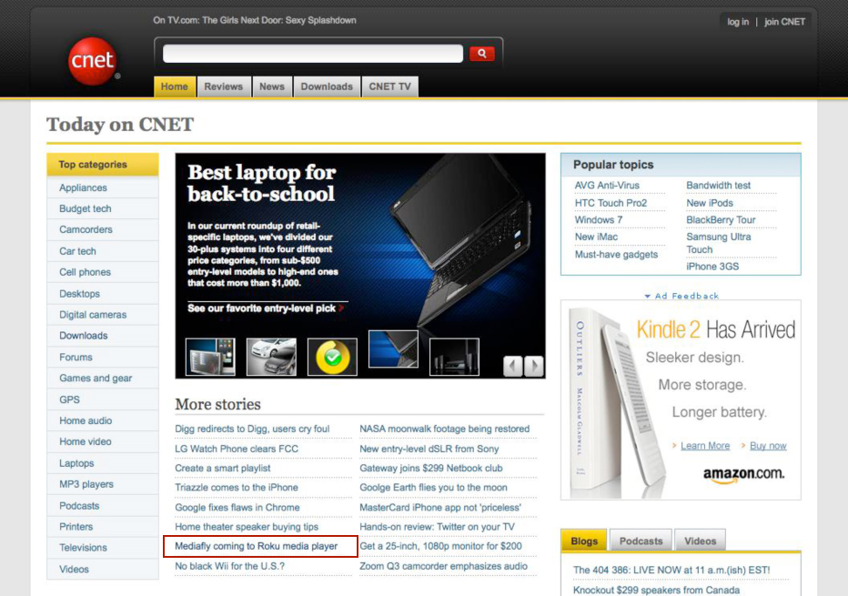 Mediafly on CNET Home