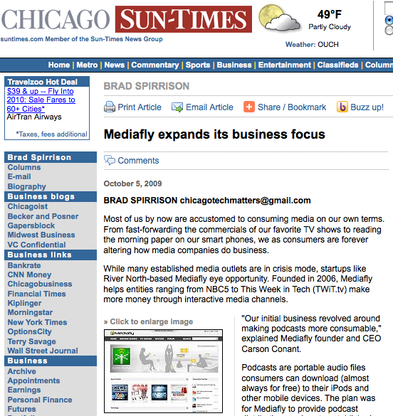 Mediafly in Chicago Sun Times